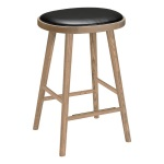 Colibri barstool 63cm oak grey, bonded leather black emb