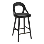 Colibri barchair 63cm oak black, bonded leather black emb